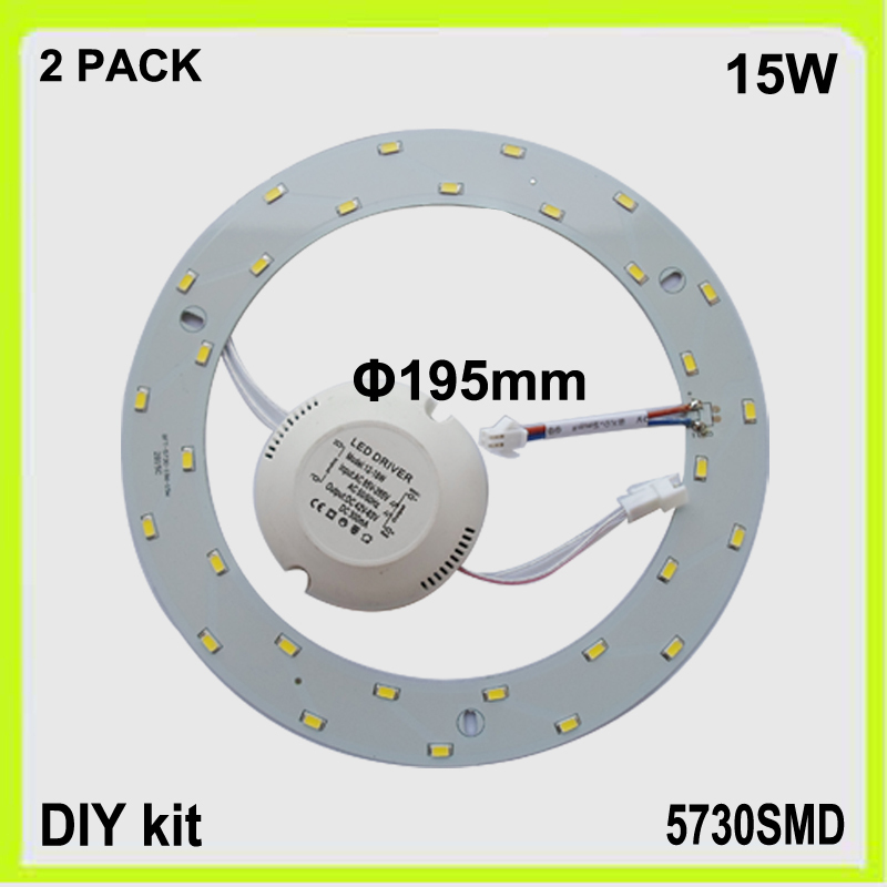 Free shipping DIY install 2 PACK 15W circular LED panel disc LED ceiling plate round luminaries lampara dia195mm 5730SMD