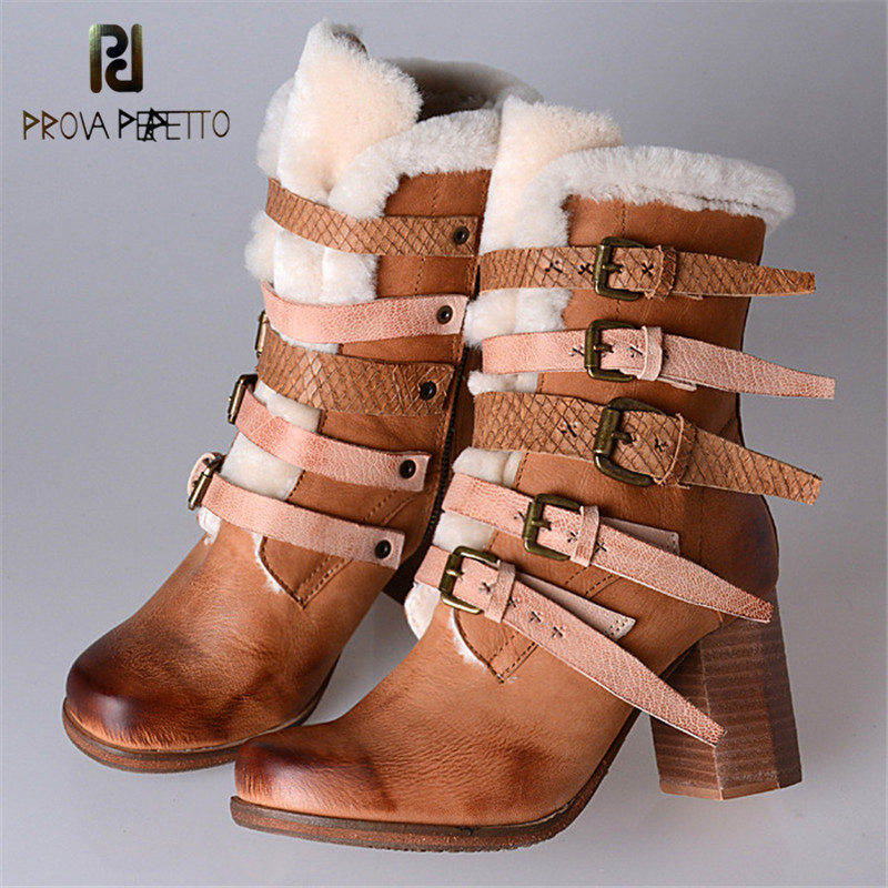 Prova Perfetto Sweet Mixed Color Buckle Strap Genuine Leather Mid Boots With Fur Inner Warm Chunky High Heel Woman Snow Boots prova perfetto genuine leather mixed metal decoration mid calf boots square toe thick heel buckle belt retro matrin boots women