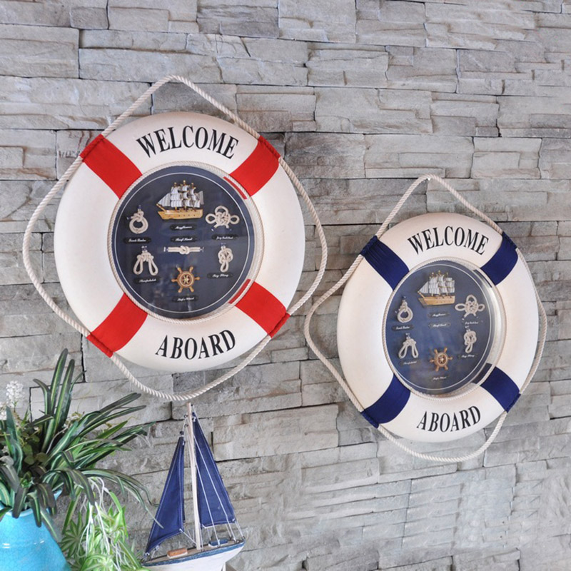 Nautical Style Welcome Decorative Life Buoy Home Decoration Accessories  Marine Beach Wall Boat Decor