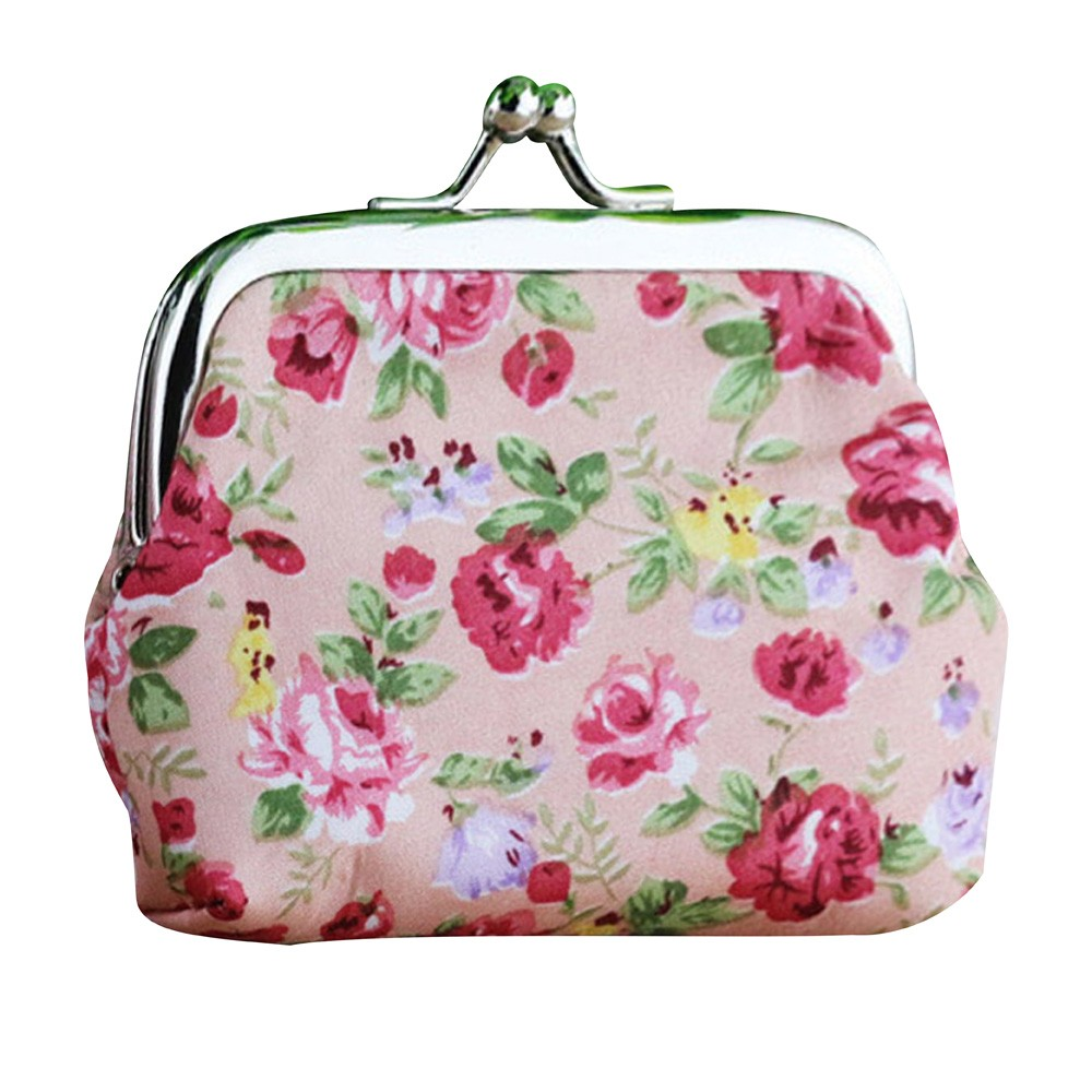 Women Cotton Coin Purse Lady Retro Vintage Small Wallet Hasp Printing Flower Purse Clutch Bag bolso mujer *00