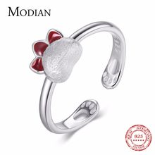 Modian 2019 New Arrival 925 Sterling Silver Trendy Rings Red Enamel Adjustable Rings For Women Lovely Cat's Paw Fine Jewelry(China)