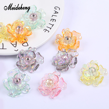 Meideheng Acrylic Transparent Flower Beads Color Plating Petals Hand Spliced For Jewelry Making Needlework Ornaments Gifts