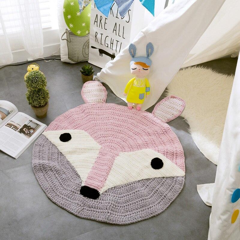 IDouillet mignon renard rond Crochet Tapis pépinière jouer Tapis tricoté à la main Tapis bébé chambre décor Tapis Enfent Tapis de sol