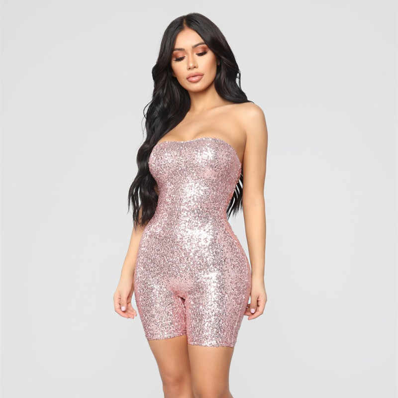 3b1212c7521 ... BOOFEENAA Pink Sequined Romper Birthday Outfits For Women Sexy Jumpsuit  Clubwear Sparkly Glitter Strapless Party Jumpsuits ...
