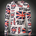 Men Casual Floral T-shirts Large Size XS-XXL Euro Size Long Sleeve Cotton 3D Flag T shirt Brand Male Fashion Slim Fit Tees V009