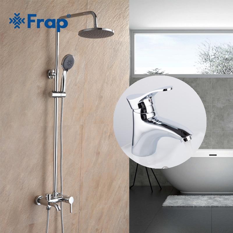 Frap Ванная комната Осадки смеситель для душа настенный Chrome с латунной Ванная комната бассейна горячей и холодной водой кран F2416 + F1001