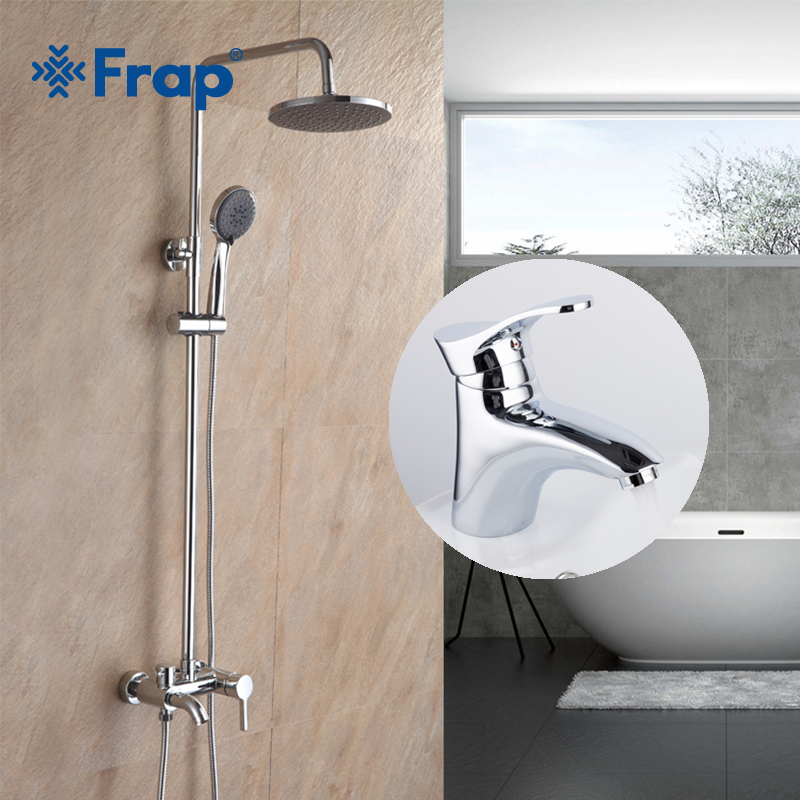 Frap Bathroom Rainfall Shower Faucet Wall Mounted Chrome With Brass Bathroom Basin Hot And Cold Water Mixer Faucet F2416+F1001 frap wall mounted shower bathroom faucet cold