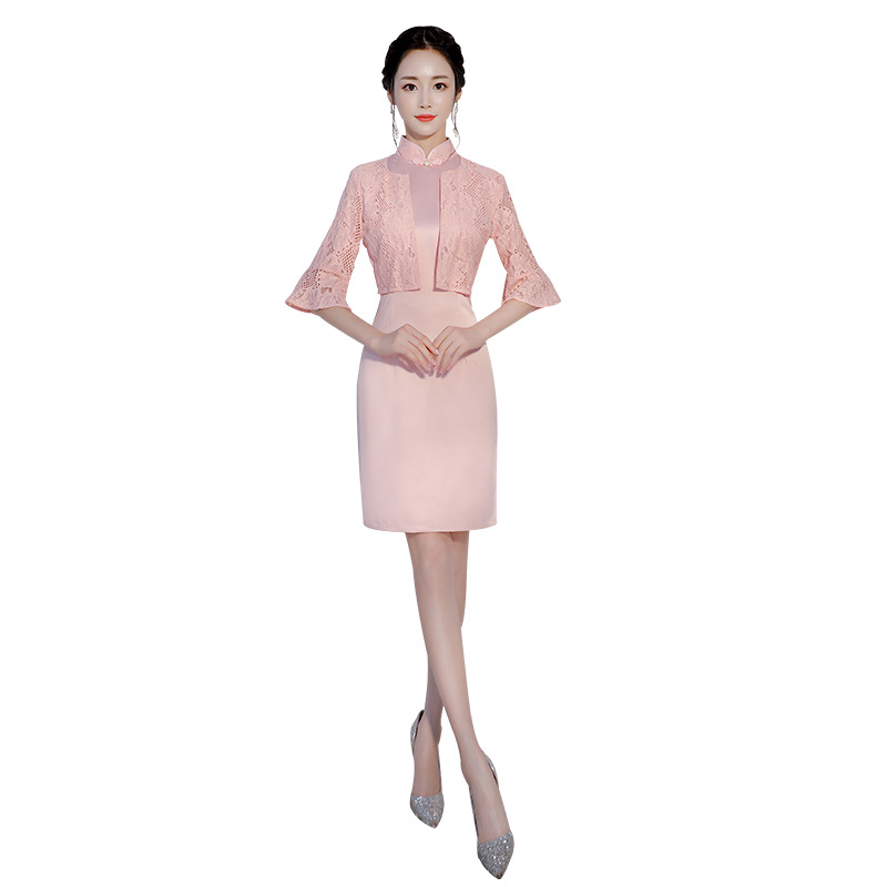 Hot Fashion Style Silk Satin Cheongsam Chinese Classic Womens Qipao Elegant Half Sleeve Novelty Short Dress Gusj-8132 To Win A High Admiration And Is Widely Trusted At Home And Abroad. Novelty & Special Use Traditional & Cultural Wear
