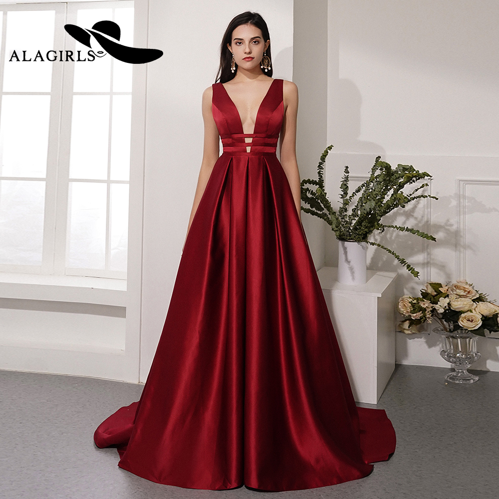 Alagirls 2019 New Arrival Sexy A Line Evening Dress Deep V-Neck Gown Elegant Long Party dress Prom Dresses