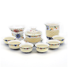 Linglong home simple Kung Fu tea set blue and white hollow cup porcelain teapot cover bowl