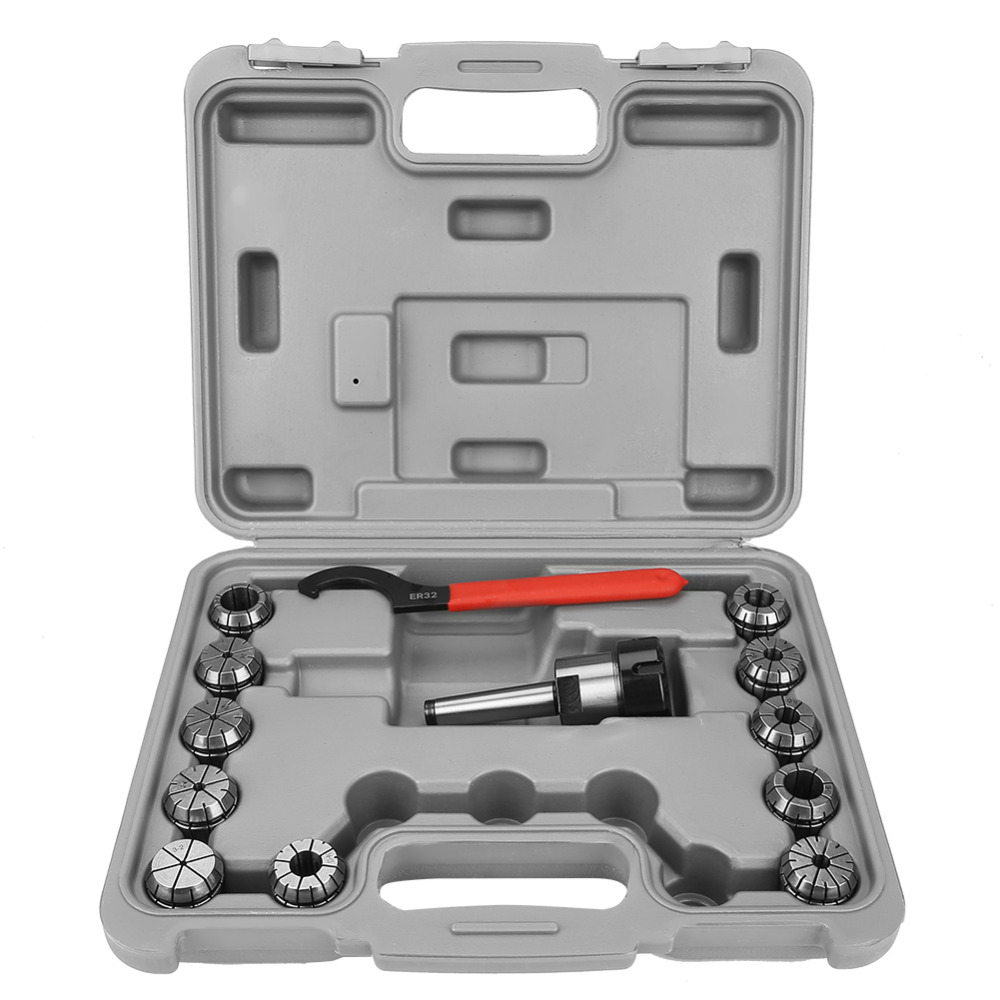 Accuracy ER32 Collet Chuck Set MT2 Shank Handle Holder Spanner for Milling Machine with Box