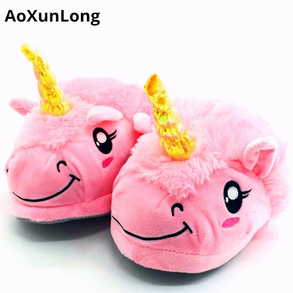 AoXunLong Unicorn Slippers Women Slides Home Slippers Pantuflas Unicornio Slipper Unicornio Pelucia Pink Unicornio Pelucia 35-41