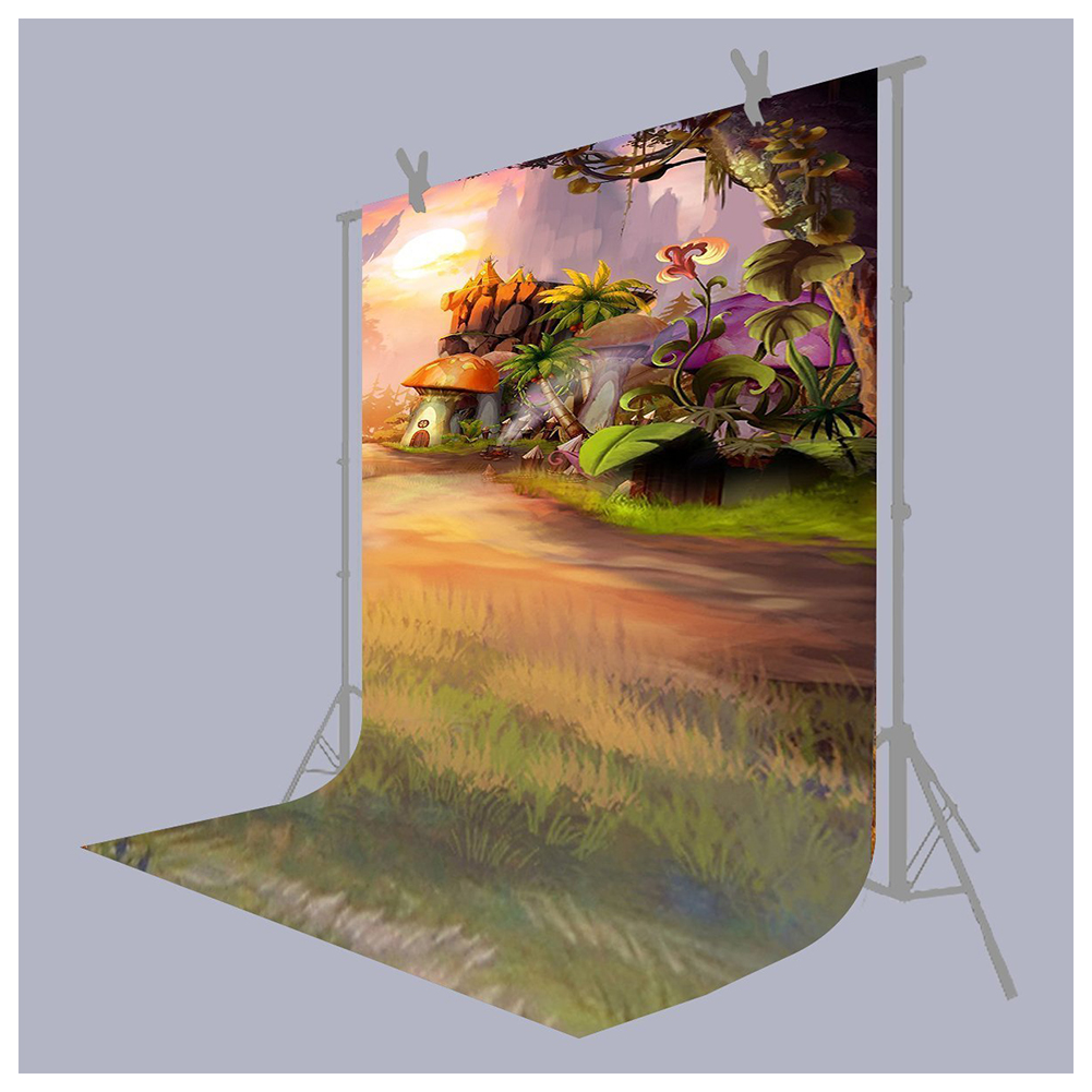Photo Background 5X7FT Fairy Tale Mushroom House Photography Backdrop Studio Props For Children christmas background pictures vinyl tree wreath gift window child photocall fairy tale wonderland camera photo studio backdrop