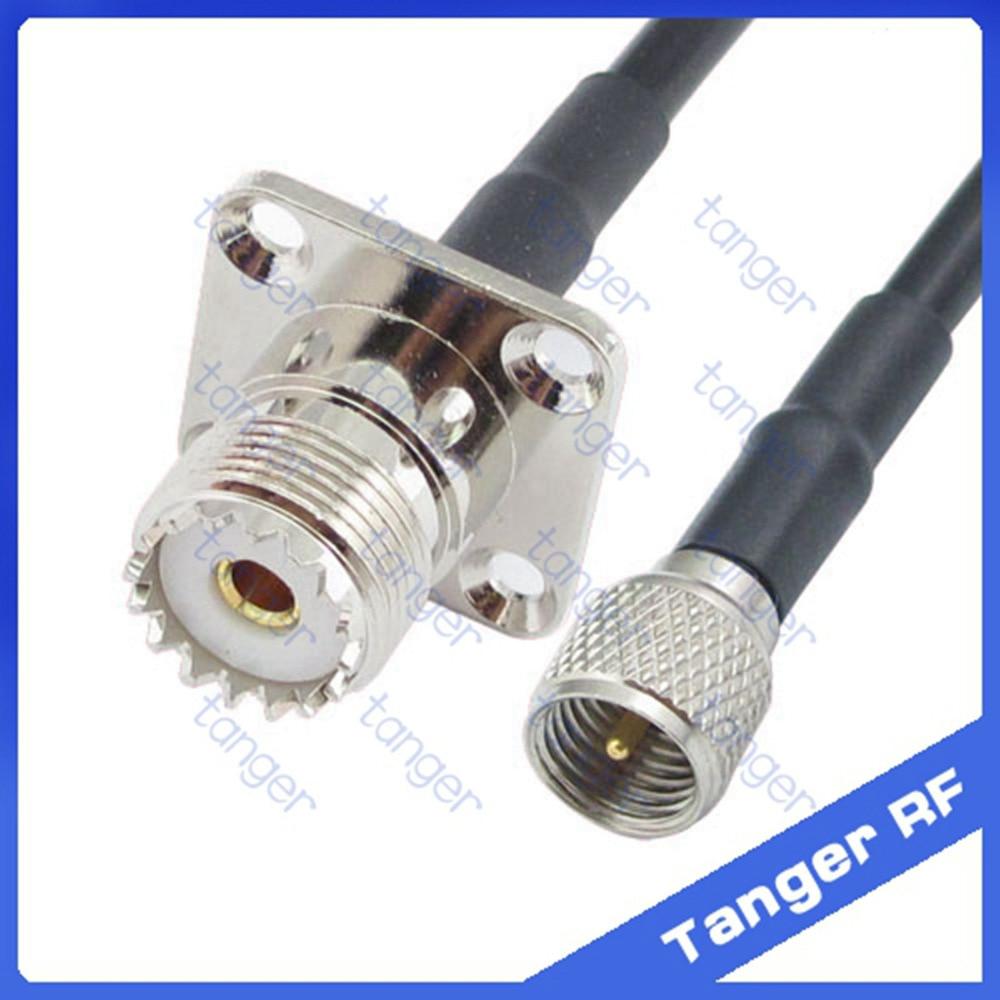 Mini UHF male plug PL259 SL16 to UHF female 4 four hole panel SO239 straight RF RG58 Pigtail Jumper Coaxial Cable 20inch 50cm mini uhf uhf adapter mini uhf male to uhf female jack straight connector