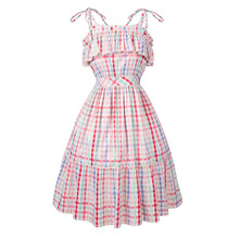 Women Dress 2018 Summer New Fashion 1950s Dress Ruffles Strappy Dress Female Cute Plaid Dress Plus Size Vestido Robe S-4XL