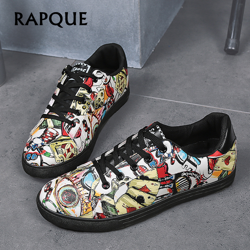 Shoes mens casual shoe Designer Graffiti sneakers tenis masculino adulto fashion flat Hip-hop shoes dress shoes Leisure RAPQUE e lov women casual walking shoes graffiti aries horoscope canvas shoe low top flat oxford shoes for couples lovers