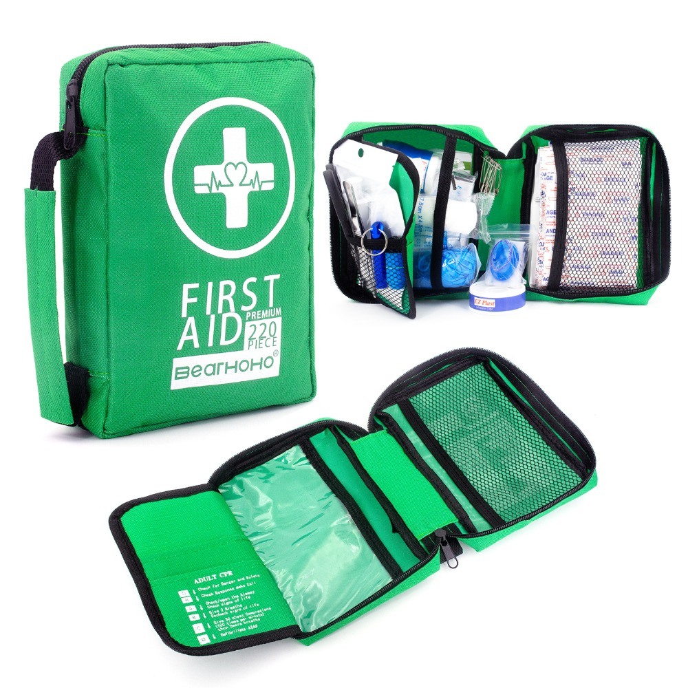 BEARHOHO First Aid Kit 220-Piece Medical Kits Lightweight For Camping,Outdoors,Hiking With Emergency Survival Gear Lifeguard