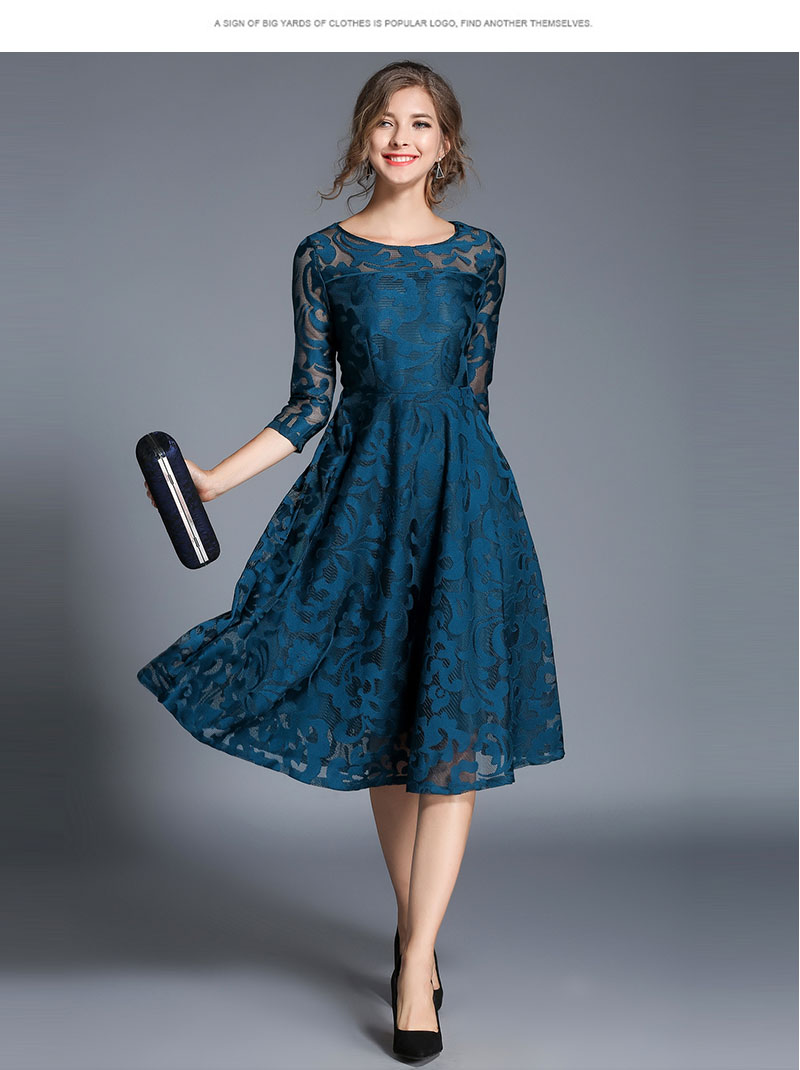 Borisovich New 18 Spring Fashion England Style Luxury Elegant Slim Ladies Party Dress Women Casual Lace Dresses Vestidos M107 12