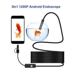 Ip68 1200 p android 8mm micro usb tipo-c usb 3-em-1 computador endoscópio borescope tubo impermeável inspeção usb mini câmera de vídeo