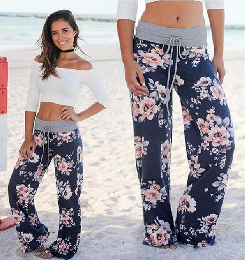 La nave de la gota del verano de las mujeres 2019 Streetwear pantalones de cintura alta elástico Casual cordón pantalones largos