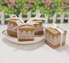 100pcs / lot Romantic lace candy box wedding decoration vintage kraft paper gift and
