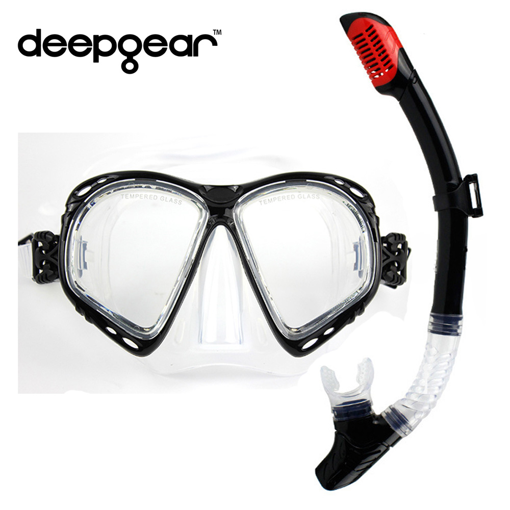 DEEPGEAR Top diving set silicon scuba mask myopia lens snorkel mask dry snorkel Adult diving equipment for nearsighted divers tempered glass myopia snorkel set adult scuba diving mask gopro camera mount dry diving set deepgear brand scuba snorkel gears