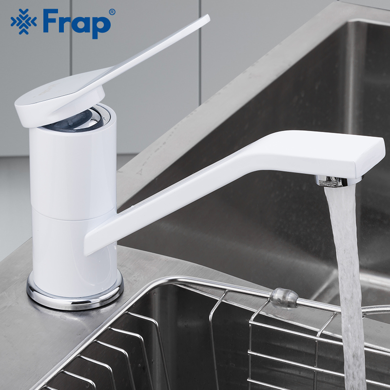 FRAP Kitchen Faucet Deck Mounted White Spray Lacquer Rotatable Kitchen Mixer Tap Single Holder Single Hole Cold and Hot WaterFRAP Kitchen Faucet Deck Mounted White Spray Lacquer Rotatable Kitchen Mixer Tap Single Holder Single Hole Cold and Hot Water