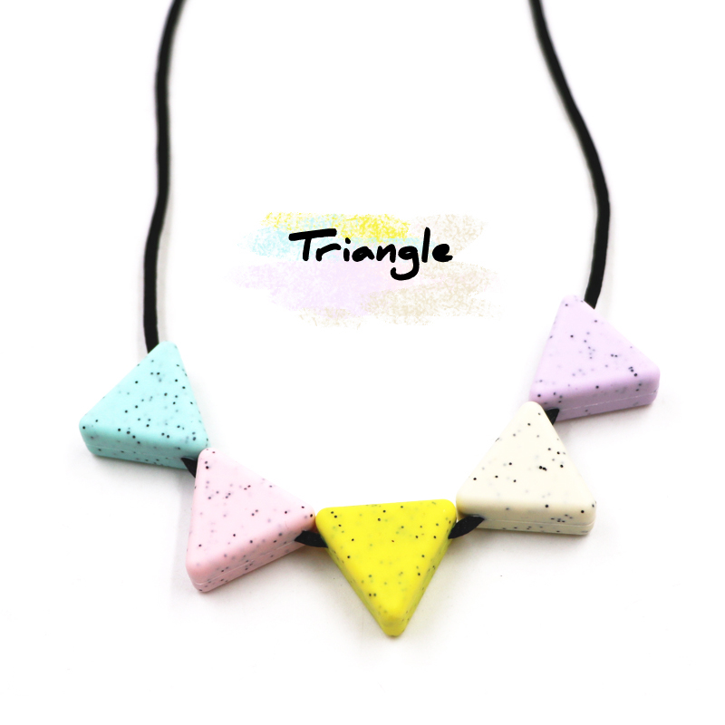 10 Pcs/Pack DIY Necklace Usage Triangle Silicone Baby Teether Chew Beads Safe Food Grade Nursing Chewing Triangle Silicone Beads