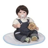 Cute 22'' Reborn Silicona Vinyl Babies Girl XMAS Gifts Realista Newborn Dolls wear suspender clothes kids play house toys