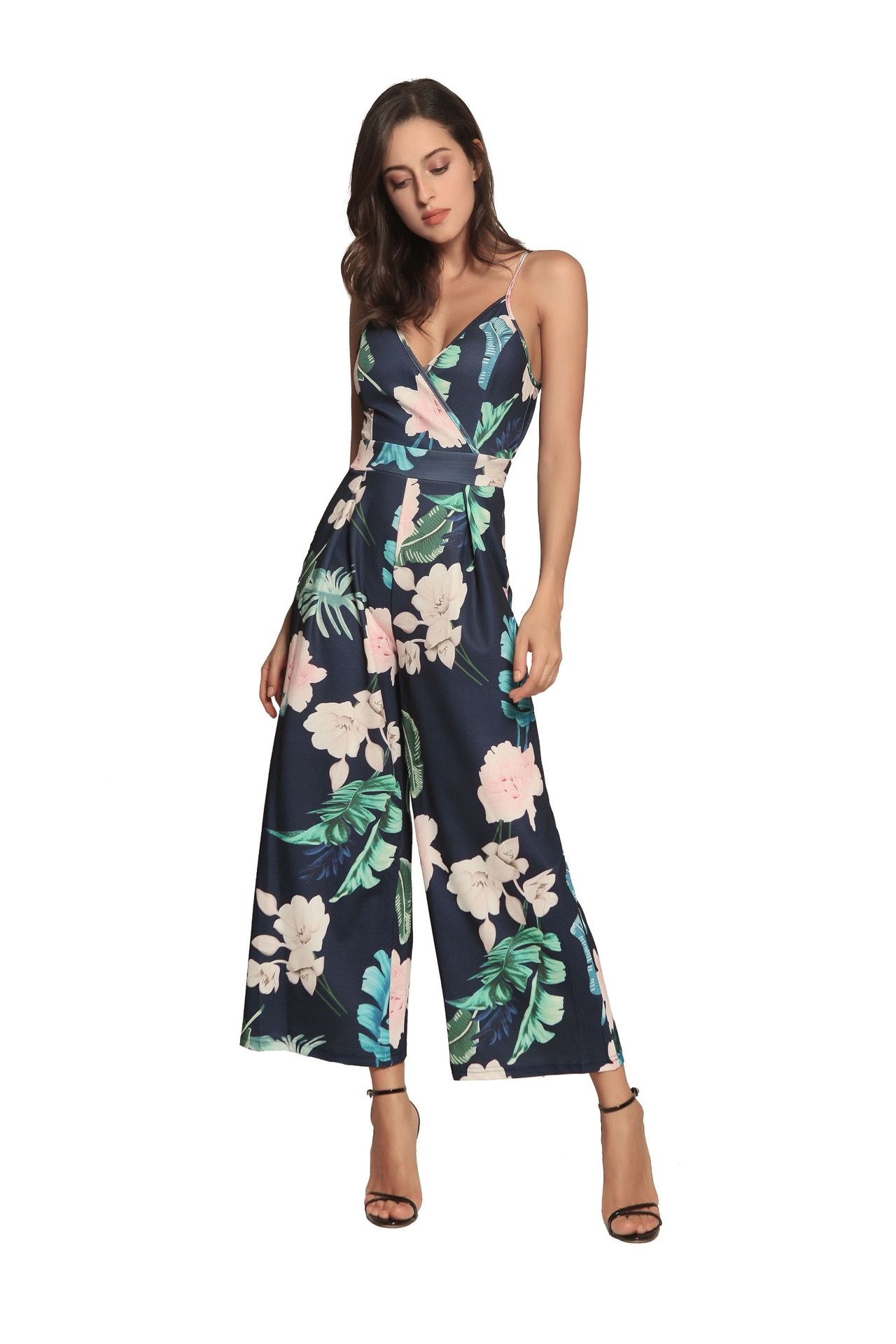 eae5f80fc3a0 2019 Floral Print Blue Spaghetti Strap Jumpsuit Sleeveless Backless ...