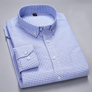Image 2 - الرجال طويلة الأكمام منقوشة مخطط أكسفورد قمصان واحدة التصحيح جيب قسط الجودة القياسية صالح زر أسفل القطن قميص غير رسمي