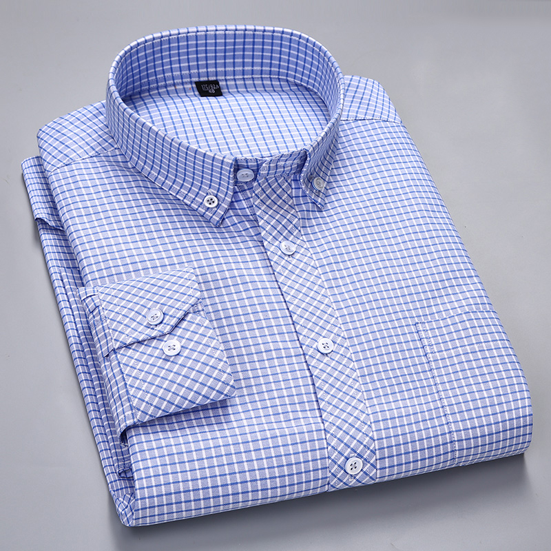 Men's Long-Sleeve Checkered Oxford Dress Shirts With Left Chest Pocket Premium Quality Standard-fit Button Down Cotton Shirt