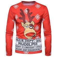 Christmas Red Funny T Shirts Men Brand 3d Print Tuxedo Slim Fit Camisetas Christmas Costume T-shirts Long Sleeve Tees Top B4204