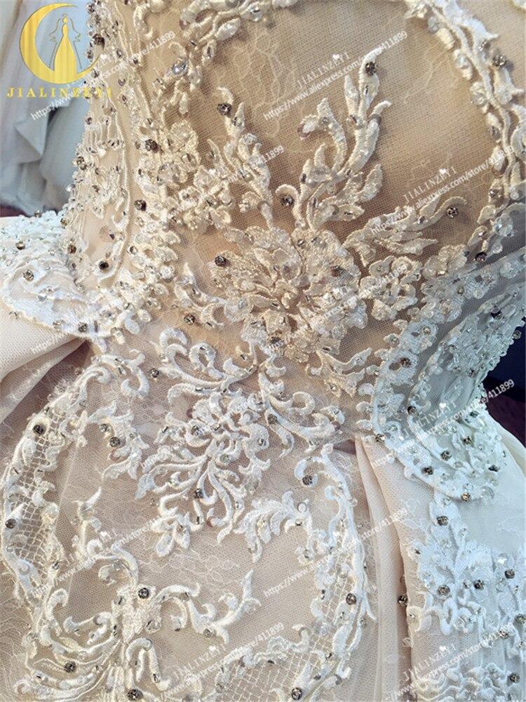 JIALINZEYI Sexy luxueux sans bretelles nu mode dentelle robe de bal Court Train elie saab mariée robes de mariée robe de mariée 2019 - 4