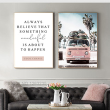 Scandinavian Tropical Landscape Posters Modern Prints Sea Beach Bus Wall Art Canvas Painting Nordic Decoration Poster Unframed