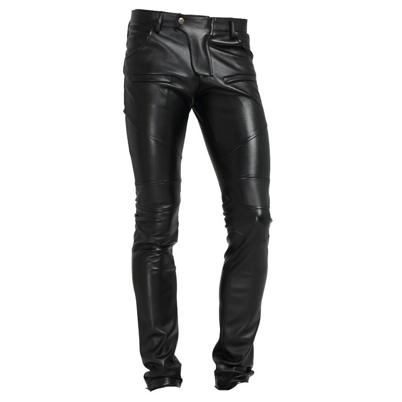 2019 Neue Männer Kleidung Mode Persönlichkeit Samt Dünne Motorrad Lokomotive Trend Männer Leder Hose