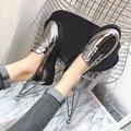 2017 Spring Autumn Platform Pumps Square Heel Round Toe Medium High Heel Leather Shoes Retro Patent Leather Pumps