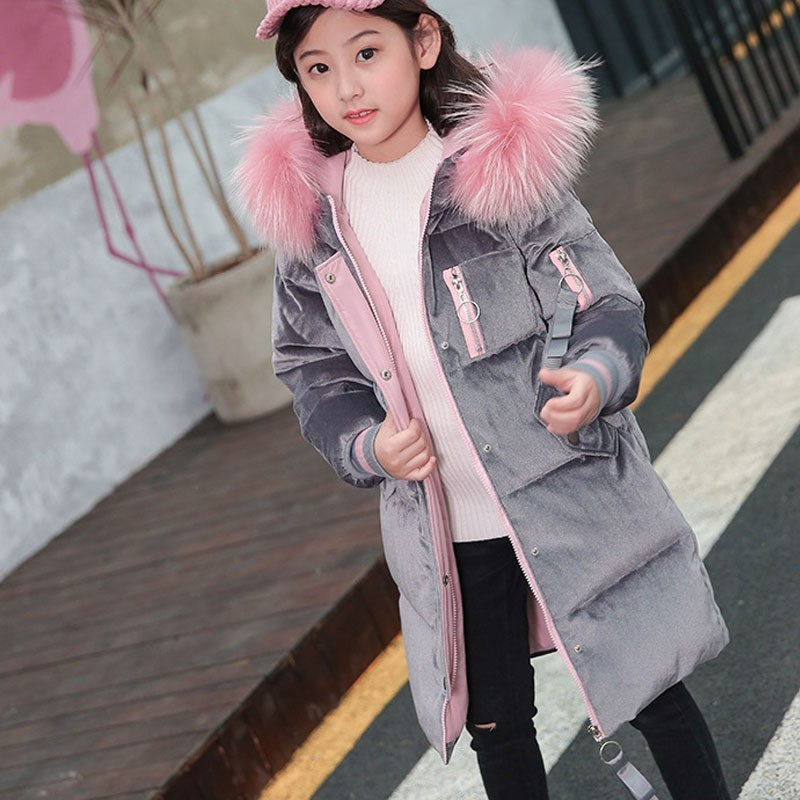 -30 Degree Teenage Girls Parka Coats White Duck Down Long Warm Chirstmas Girls Kids Winter Coat 2018 Winter Jackets For Girls winter jackets for girls kids fashion winter coat girls parka coats long thicken jacket 90% duck down warm children clothing