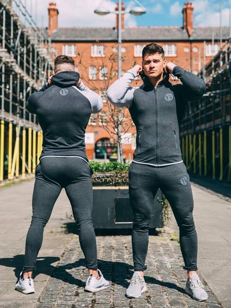 2019 New Fashion Winter Men Set Sporting Suit Hooded Jacket+Pant Sportswear Thick Sweatsuit Set Tracksuit For Men M-XXXL