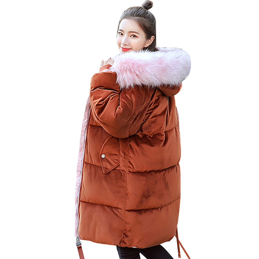 Female long Coat 2018 winter jacket women Fake fur collar hooded woman   parka   outerwear cotton padded woman coat plus size