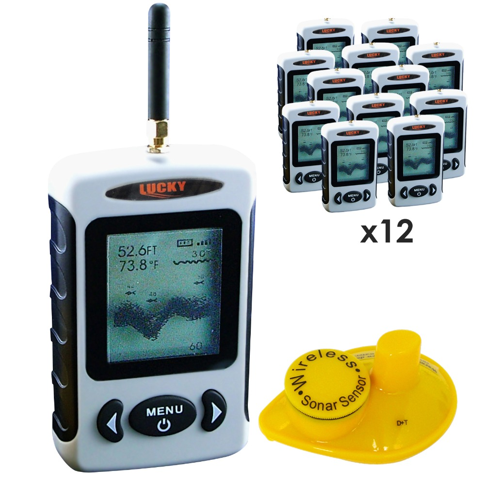 12 pieces x LUCKY Professional 2.8 Inch Display Wireless Sonar Sensor 45M Fish Finder Sea Bed Contour,lot of 12