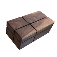 Simple retro style wooden tissue box Unique black walnut wooden tissue box home decoration