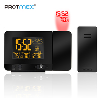 PROTMEX Radio Contraolled Projection Alarm Clock Weather Station With Temperature Sensor Colorful LCD Display Weather Forecast