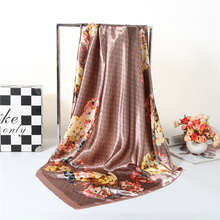 Fashion Flower Print Large Square Scarves For Ladies Accessories Luxury Brand Wraps Shawls Silk Head Women Scarf Foulard 90cm