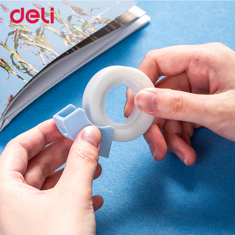Deli kawaii transparent masking tape blue/pink student writing copy tape gift cutting 2 pieces washi tapes stationery wholesale 6
