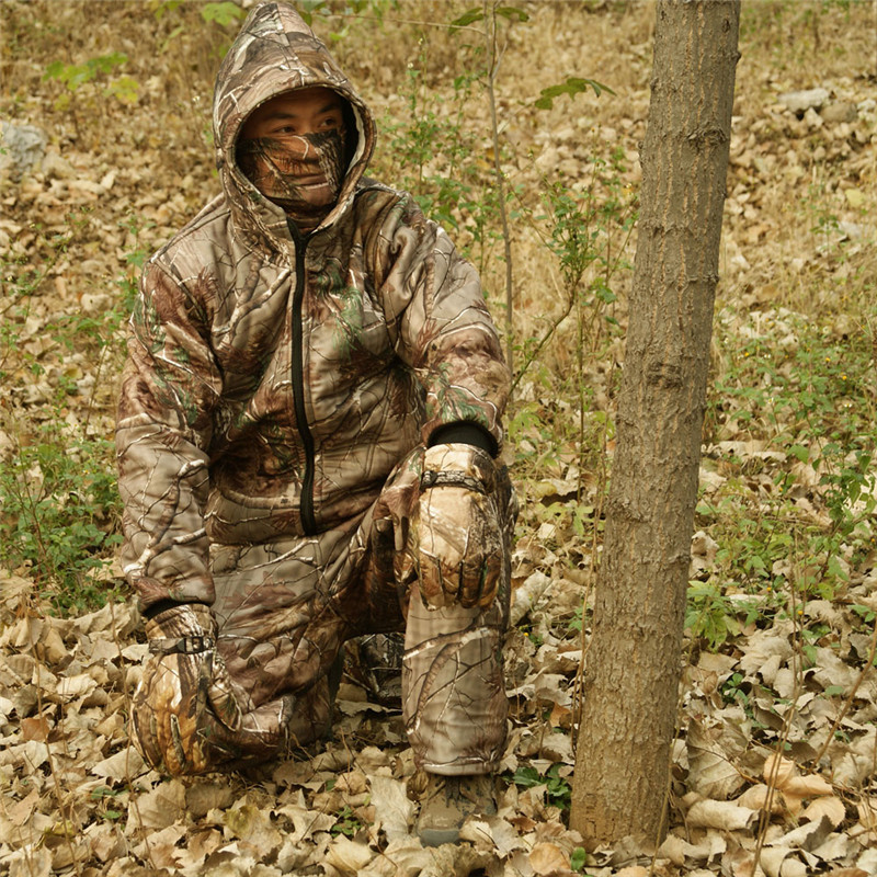 Winter Outdoor Warm Fleece Clothing real tree Bionic Camouflage Hooded Hunting Ghillie Suit Jacket Pants and