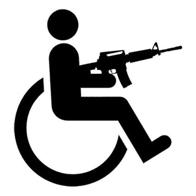 15cm*16cm Handicapped Wheelchair Gun Creative Vinyl Car-Styling Stickers Decals Black/Silver S3-4745 16 8cm 13 6cm hot sexy girl creative decor car accessories vinyl stickers black silver s3 5751