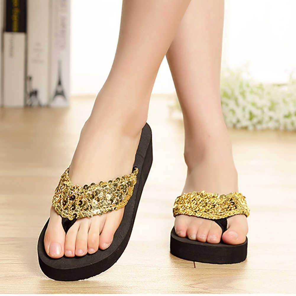 กางเกงยีนส์ผู้หญิงรองเท้าแตะชายหาด Flip Flops แพลตฟอร์มผู้หญิง Wedges ผู้หญิงรองเท้าแตะแพลตฟอร์มรองเท้าผู้หญิง #30