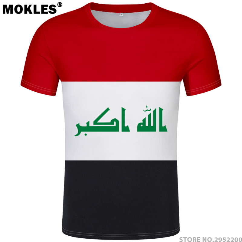 IRAQ póló diy ingyenes egyéni gyártmányú név irq póló nemzet - Férfi ruházat