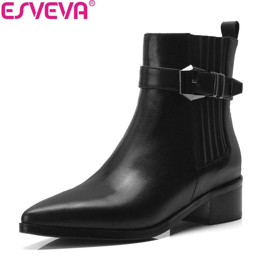Noir Med Solide Femmes Carré Concis 34 40 Taille Cheville Fermeture Bout Esveva Chaussures Talons 2019 À Femme Boucle Glissière Bottes Pointu zg5zqR0w